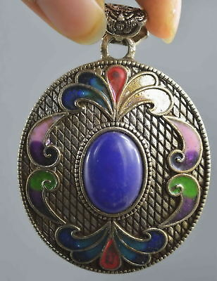 Collectable Handwork Miao Silver Cloisonne Carve Flower & Agate Lucky Pendant