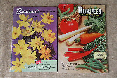 Lot 2 VTG Burpee's Seed Catalogs 1942-43 Fruits Vegetables Flowers Garden Atlee