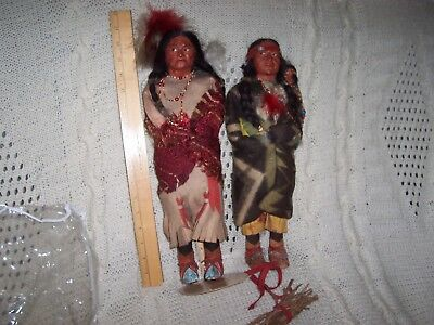 Skookum Indian dolls pair from 1930's  Squaw with papoose, and brave