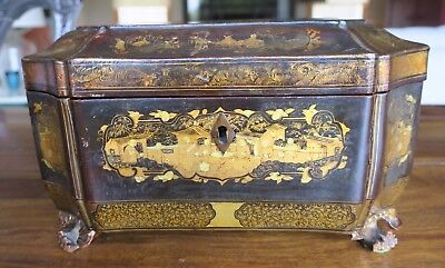 19th Century Antique Black Lacquer & Gilt Tea Caddy with Engraved Inserts