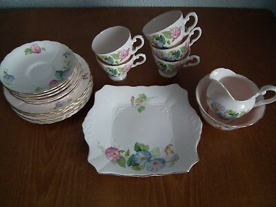 Vintage Plant Tuscan China Pale Pink Floral Tea Coffee Set 1930's Art Deco