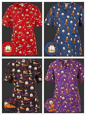 New>Scrubs>Garfield Paw Mock Wrap/V neck Print Scrub Top 4 Styles to choose from