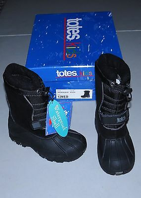 TOTES Winter Boots NEW Kids 1 Med Jacob BLACK Boys or Girls Rubber Bottom 1M NIB