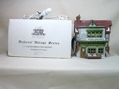 "Dept 56, Dickens' Village, ""the Mermaid Fish Shoppe"", #5926-9, Lighted Cord, Box"