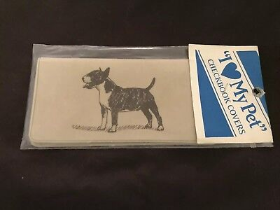 NEW VINTAGE Colored Bull Terrier CHECKBOOK COVER in Original Wrapping