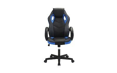 Computer Gaming Office Chair, High Back, PU Leather Swivel Adjustable, Blk/Blue