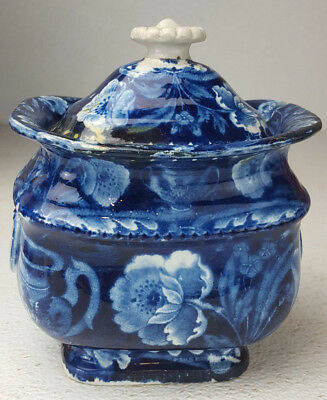 Historical Dark Blue Staffordshire Eagle on Urn Sugar Bowl Clews