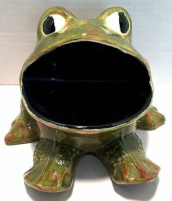 Wide Mouth Frog Spatter Ceramic  Sponge Scrubbie Soap Holder Kitchen Vtg 70s
