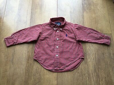 RALPH LAUREN CHECK SHIRT TOP RED Baby Boys 12 Months - VGC