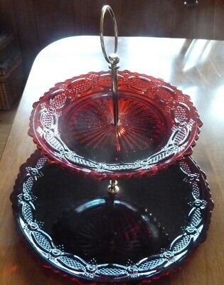 Vintage Avon 1876 Cape Cod Collection Ruby Red Two Tier Server EUC