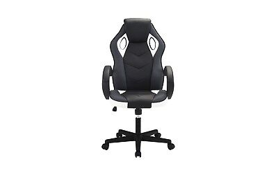 Computer Gaming Office Chair, High Back, PU Leather Swivel Adjustable, Blk/White