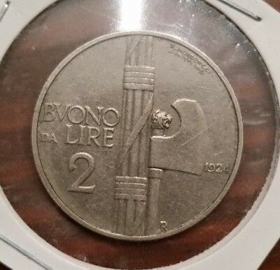 Italy. 1924-R 2 Lire Coin ~ Very nice collectable Rare Coin