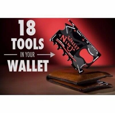 Wallet Ninja 18 in 1 Credit Card Pocket Multi Tool. Fun Gadget. Stocking Filler.