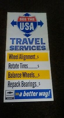 1972 Chevrolet Dealer Only Service Poster See The USA Travel Service NOS