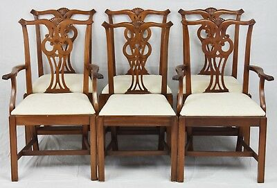 Set of 6 Solid Mahogany Chippendale Dining Chairs
