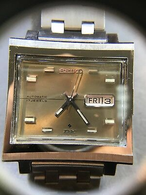 """VINTAGE SEIKO  17 JEWELS """"DX"""" AUTOMATIC STAINLESS DAY/DATE retro New Old Stock"""