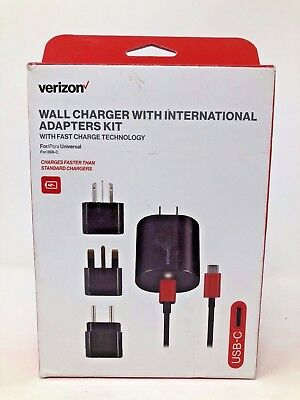 Verizon universal USB-C Wall Charger With International Adapters Kit NEW