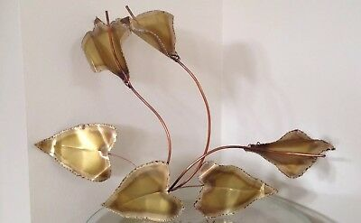 Peace Lily Lillies Wall Sculpture Hanging Art Copper Brass Metal Vintage Pretty