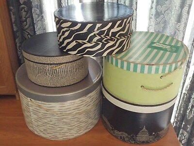 Vintage Assorted Hat boxes (5), Woodward and Lothrop, Jellels, etc.