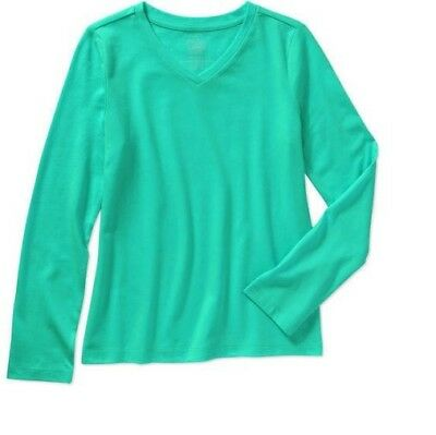 FADED GLORY Girl's Long Sleeve V Neck T-Shirt Solid Mint Green 10-12