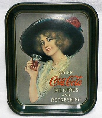 Tin Drink Coca Cola Tray Beautiful Lady With Hat