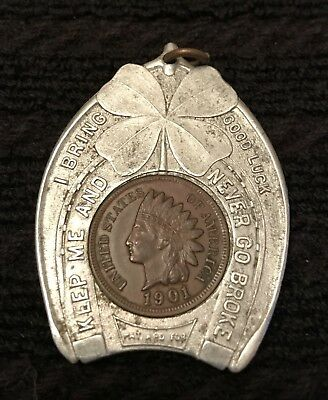 Henry J Wehrs The Empire Sample Room Milwaukee 1901 Encased Indian Head Penny