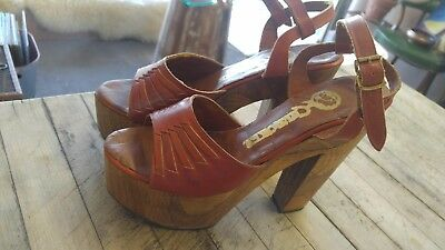 Vintage 70s Tooled Leather & Carved Wood Platform Disco Hippie Heels Sandals 7