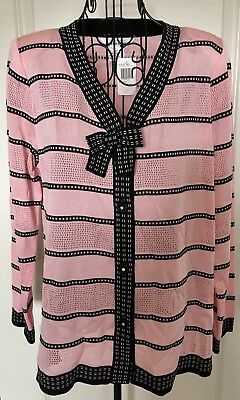 NWT Exclusively Misook Cardigan Sweater Top Jacket Rhinestone Knit Pink Black M
