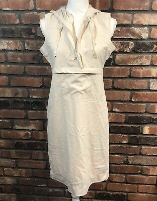 Vintage Tommy Hilfiger Women's Ivory Active Dress Spell Out Hooded Sz 8