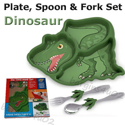 Kids Children's Boys Dinosaur Cutlery & Plate Dinner Set, Spoon & Fork - Boxed