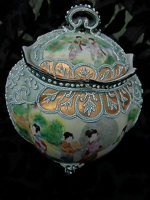 """Antique Hand Painted Nippon Moriage Footed Jar With Gold Gild, 7.5"""" X 7.5"""""""