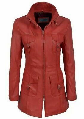 LADIES ROCKSTAR 1310 Red Washed Vintage Gothic Style CLASSIC SOFT Leather jacket