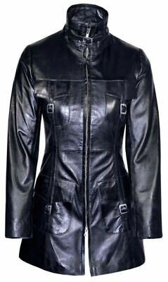 LADIES ROCK STAR Black Gothic Style Fitted Lambskin CLASSIC Leather COAT Jacket