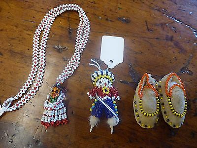 Native American Beaded Miniatures Rabbit Foot Moccasins Doll