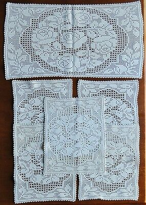 Filet Crochet Doily Set of 6 - Ecru - Roses - As New