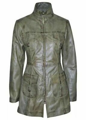 LADIES ROCK STAR 1310 olive green Gothic Style Fitted Lambskin Leather Jacket