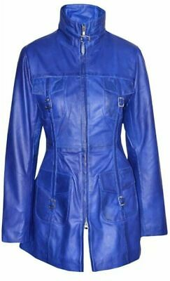 LADIES ROCK STAR BLUE 1310 Gothic Style Fitted Real Lambskin Leather COAT Jacket
