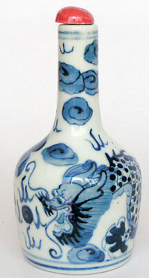 Excellent blue and white Porcelain snuff bottle painted ancient beast dragons