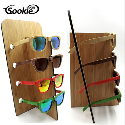 Bamboo Wood Sunglass Glasses Display Rack Counter Stand Organizer 4 Layers Gift