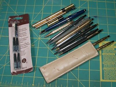 Lot of 11 Vintage Cross Ball Point Pens Gold Fill and Chrome Made in USA