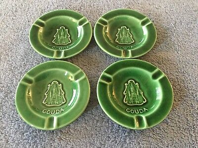 Vintage Zuid Holland Gouda Pottery 4 Lot Green Ashtray Church Signed Sticker