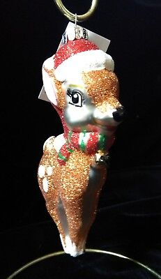 """Hand Crafted Glass Santa Reindeer Ornament ~ 5""""H ~ Celebrations by Radko"""