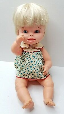 """Vintage Remco Ind. 14"""" Doll Bright Blue Eyes Pouty Mouth 1966 Vinyl Baby Doll"""