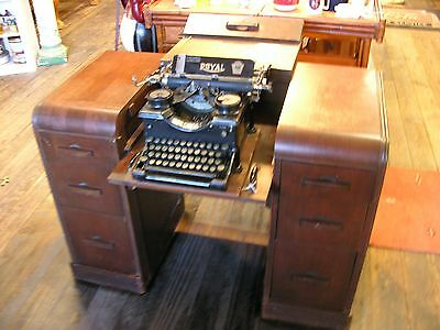 Antique Industrial Wood Typewriters Desk With Royal #10 Typewriter