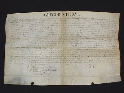 RARE Vellum Intact Papal Brief/Breve of Pope Gregory XVI, Dated July of 1831