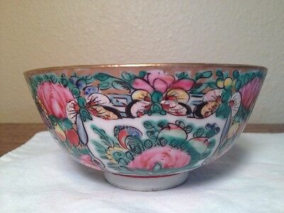 Vintage Chinese Famille Rose Medallion Porcelain Rice/Soup Bowl & Spoon