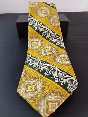 Wemlon by Wembley  Mens Vintage Classic Tie Gold Black Silver 55""