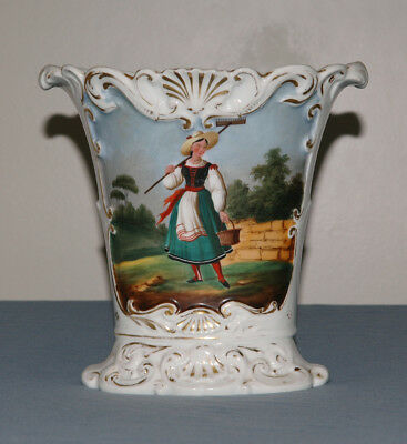 "Antique 19th Century Old Paris Porcelain Handpainted Vase 8 1/2"" Tall c1880"