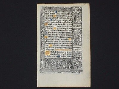 Medieval Printed Book of Hours Leaf on VELLUM w/ Handpainted Initials, c.1510