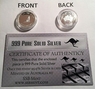 """Silver Grey Wolf"" 1/10th OZ 99.9% Solid Silver Bullion Coin (Gr8 Investment).."